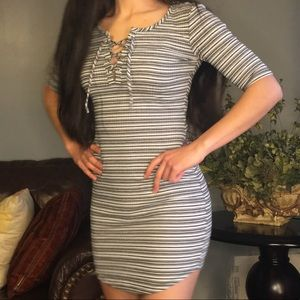 Sexy front lace-up striped grey bodycon